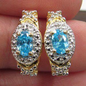 Sterling Blue Cubic Zirconia & Diamond Earrings